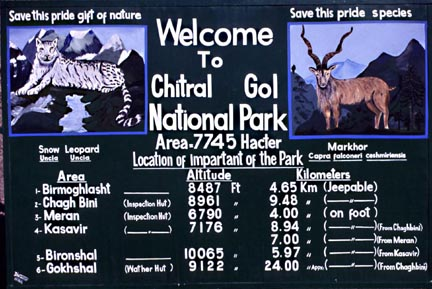 Sign posted at entrance to Chitral Gol National Park