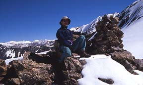 Cairn and view north from Dilisang Pass (5,290m), August 6, 2004